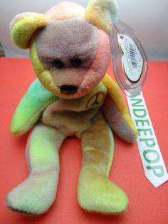 Free: TY Beanie Babie 1996 Peace Bear Stuffed animal toy Original w/ tags retired - Dolls & Stuffed Animals Ty Beanie, Beanie Babies, Peace Beanie Baby, Big Eyes, Pet Toys, Dinosaur Stuffed Animal, Teddy Bear, Dolls, Tags