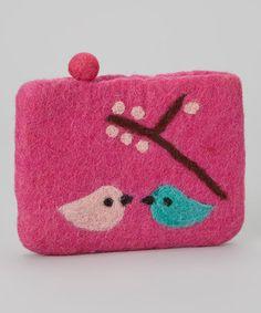 Loving this Pink Lovebird Wool-Blend Coin Purse on #zulily! #zulilyfinds $9 !!