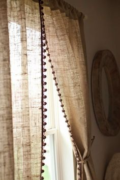 Natural Burlap Curtain Panel with Pom Pom Trim / Country Farmhouse Curtains Living Room Decor / Rod Pocket / 1 Panel / Nursery Kids Life - Home Decor Farmhouse Curtains, Burlap Curtains, Country Curtains, Panel Curtains, Curtain Panels, Pom Pom Curtains, Curtain Door, Vintage Curtains, Linen Curtain