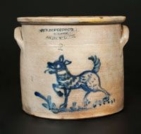 "Rare Two-Gallon Stoneware Crock with Cobalt Dog Decoration, Stamped ""W A… Stoneware Crocks, Antique Stoneware, Antique Pottery, Antique Crocks, Old Crocks, Wooden Snowmen, Primitive Snowmen, Primitive Crafts, Primitive Christmas"