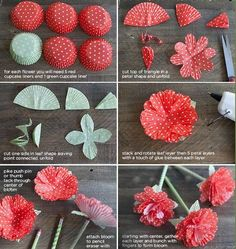 Cupcake Paper Crafts, Paper Flowers Craft, Flower Crafts, Diy Flowers, Fabric Flowers, Diy Cupcake, Spring Flowers, Coffee Filter Crafts, Coffee Filter Flowers