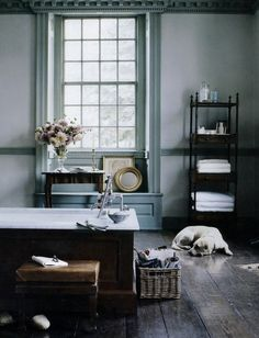 Oh, i love this watered down blue w/ the wood floors & dark wood furniture...