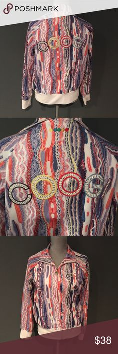"""Coogi Hip Hop 90's Multicolor Zip Up Jacket Sz Lg Gorgeous Coogi zip up retro jacket Sz Large. Excellent condition other than some small spots on white cuffs. Length is 24"""". 20"""" armpit to armpit. COOGI Jackets & Coats"""