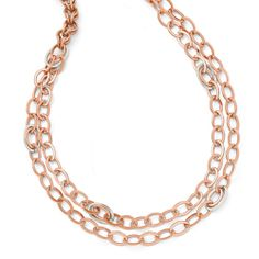 Bronze Textured Rose-tone Rhodium-plated Necklace 36""