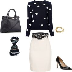 A Trendy Classic by simplyluxurious featuring leather pumpsChinti and Parker  / Knee length pencil skirt, $205 / Diane von Furstenberg leather pumps, $390 / Navy blue handbag, $260 / Fantasy Jewelry Box stacking bangle / Yves Saint Laurent leopard belt, $875 / Dries Van Noten printed silk scarve, $375