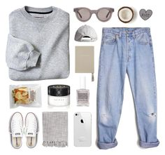 there's no place i rather be by ruthaudreyk on Polyvore featuring polyvore, fashion, style, Levi's, Converse, Sun Buddies, H&M, Gucci, Obsessive Compulsive Cosmetics, Surya, Smythson and country