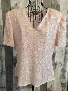 Laurence Kazar Sequin Beaded Top Blouse 100% Silk Pastel Pink Size Petite Medium #LaurenceKazar #BeadedTop