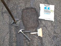 An asphalt patch can be done with cold patch asphalt in a bag. You get the best results if you undercut the edges of the adjacent blacktop. This locks the new material into the pothole. Watch GREAT How-To VIDEOS here. Asphalt Driveway Repair, Asphalt Repair, Driveway Edging, Diy Patches, Shipping Container Homes, Recycled Crafts, Garden Tools, Driveways
