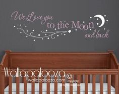 Love you to the moon and back wall decal - Nursery Wall Decor - Stars and Moon Wall Decals