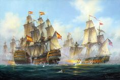 Fighting Sail pictures depict famous ships and historic naval battles such as Trafalgar and Battle of the Nile. Sseries of paintings depicting atmospheric impressions of Cornish Harbours and old sailing ships. Old Sailing Ships, Sailing Boat, Battle Of The Nile, Pirate Adventure, Man Of War, Naval History, Classic Paintings, Tug Boats, St Ives