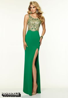 97091 Prom Dresses / Gowns Beaded Mesh on Jersey Green