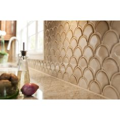 Shop GBI Tile & Stone Inc. Scallops Glossy Ceramic Mosaic Wall Tile (Common: 13-in x 13-in; Actual: 13.75-in x 13.75-in) at Lowes.com