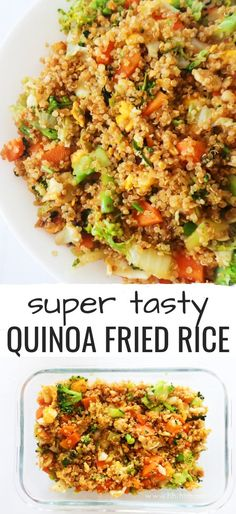 Easy healthy dinner recipe you will gla… Super tasty Quinoa fried rice! Easy healthy dinner recipe you will gladly eat every single day! This simple quinoa recipe is vegetarian and gluten-free if you… Continue Reading → Arroz Frito, Quinoa Recipes Easy, Easy Healthy Dinners, Quinoa Dinner Recipes, Simple Quinoa Recipe, Vegetarian Quinoa Recipes, Easy Recipes, Cauliflower Recipes, 15 Minute Recipes