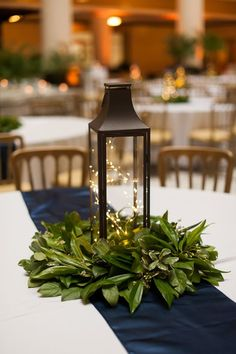 Lantern Centerpiece with Simple Greenery
