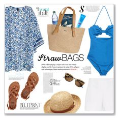 """""""Straw Bags"""" by sissydoll ❤ liked on Polyvore featuring H&M, Hallhuber, Marysia Swim, Billabong, MDSolarSciences, Sun N' Sand, Chaps and strawbags"""