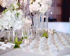 Close up view of escort card table for an ice theme wedding
