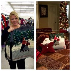 Jen and I collect Christmas sweaters all year long, the uglier the better! Last year we came across these gorgeous Ralph Lauren Christmas sweaters and I thought it would make a beautiful pillow. Thrift Store Outfits, Thrift Store Refashion, Diy Clothes Refashion, Thrift Store Crafts, Thrift Stores, Goodwill Finds, Sweater Refashion, Diy Clothing, Sewing Clothes