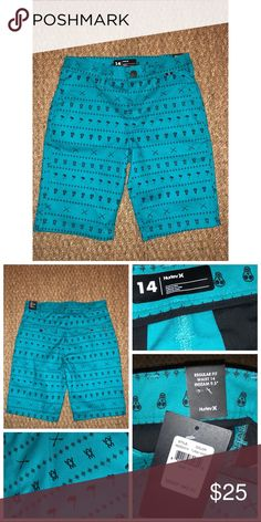 NWT Hurley Boy's Shorts NWT Hurley Boy's Shorts Size 14 60% Cotton/ 40% Poly Turquoise/Green Color Brand New 31118F Hurley Bottoms
