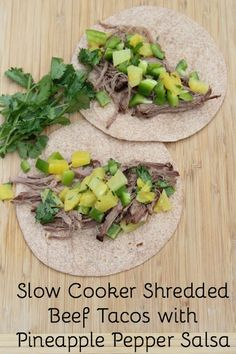 I adore the sweetness from the pineapple, plus the crunch from the bell peppers in these slow cooker shredded beef tacos with homemade pineapple pepper salsa | 5DollarDinners.com