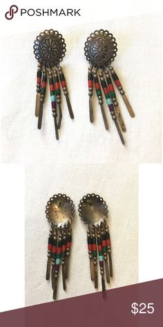 💙VINTAGE BEADED EARRINGS❤️ Vintage 1970's beaded tribal earrings. Hand crafted. Amazing condition. Jewelry Earrings