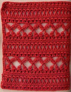 Crochet stitch pattern with chart. Love Crochet, Crochet Motif, Crochet Shawl, Knit Crochet, Crochet Scarves, Crochet Stitches Patterns, Knitting Stitches, Stitch Patterns, Knitting Patterns