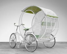 kenneth cobonpue has envisioned a more hi-tech version of the rickshaw. the filipino designer's three-wheeled 'eclipse'