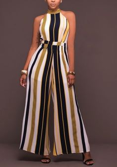 Buy Chicloth Women Striped Wide Leg Jumpsuit Halter Neck Sleeveless High Waist Romper Bodysuit,Cheap Womens Casual Pants,Cheap Jumpsuits and Rompers. Long Jumpsuits, Jumpsuits For Women, African Wear, African Dress, Fashion Mode, Fashion Outfits, Jumpsuit Elegante, Casual Wear, Casual Outfits