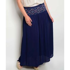 PB Couture Navy Geometric Maxi Skirt ($25) ❤ liked on Polyvore featuring plus size women's fashion, plus size clothing, plus size skirts, plus size, long blue skirt, navy maxi skirts, boho maxi skirt, navy blue long skirt and long ankle length skirts