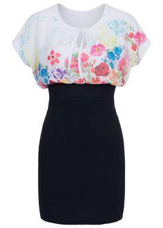 6dda0692bc Styleboom Fashion Damen Mini Kleid 2-lagig Chiffon kurzarm Bindeband Blumen weiss  schwarz - 77onlineshop