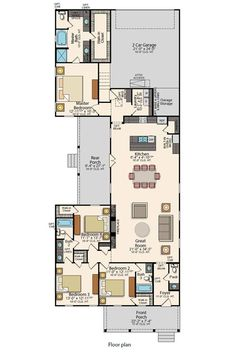 This floor plan has 4 beds and baths. You will enjoy a spacious home with open living spaces and a gourmet kitchen. The master suite includes a spa-like bathroom and a walk-in closet. Duplex Floor Plans, Bungalow Floor Plans, House Floor Plans, Master Bedroom Layout, Bedroom Layouts, Master Suite, Open Space Living, Living Spaces, Open Concept Home