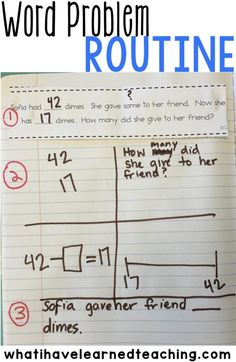 A word problem routine that helps students analyze the word problem, determine the equation, and choose a model. This structured routine gives students the tools to successfully solve word problems.