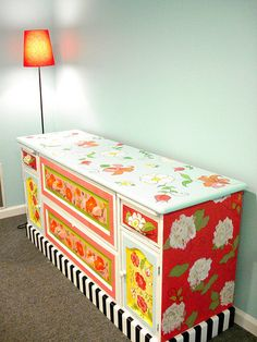 painted credenza-awesome colors & patterns  Must check out the Painted Furniture group on Flickr!