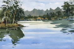 I'm still finishing up some paintings I did in Thailand. This one was early morning, looking out on the River Kwai towards Myanmar. In the distance the mountains have forms that are so unlike anyth...