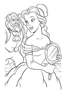 Beast Seeing The Beauty Belle Coloring Pages - Princess Belle Coloring Pages : Princess Coloring