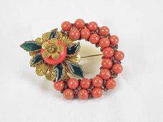 VINTAGE UNSIGNED MIRIAM HASKELL ENAMEL RED CORAL GLASS BEAD BROOCH - BOOK PIECE
