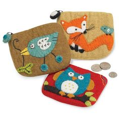 Felted Wool Coin Pouches - decorate the plain felt purses, iPad or Kindle cases on our website with beautiful felt animals ... just like these !!  From just £3.25  http://www.bloomingfelt.co.uk/felt-bags-purses-gadget-cases-100-wool-felt.html