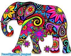 Psy Elephant Elephant Quilt, Elephant Art, Elephant Tattoos, Elephant Colour, Dot Painting, Ceramic Painting, Elephant Illustration, Hippie Art, Arte Pop