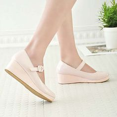 Very cute!!! Candy Girl PU Leather 3cm Wedge Sweet Lolita Shoes - USD $ 29.99