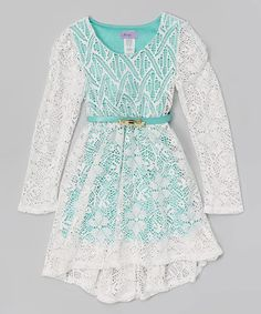 This White & Mint Belted Lace Dress - Girls is perfect! #zulilyfinds