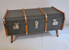 Vintage Bentwood Steamer Trunk Coffee Table