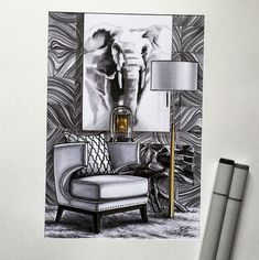 Interior sketches by Elena Ivannikova, the teacher in our school.