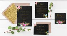 Printable wedding package black and gold by PennyLaneStationery