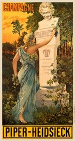 Piper Heidsieck 1900 France - Beautiful Vintage Poster Reproduction. This french wine and spirits poster features a women draped in blue moving branches from a monument with a statue head smiling down on her. Giclee Advertising Print. Classic Posters
