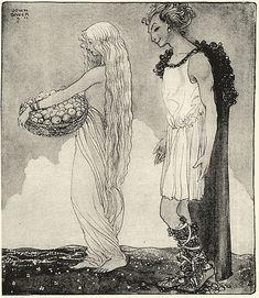 Loki and Idun illustrated by John Bauer in 1911 for Our Fathers' Godsaga by Viktor Rydberg