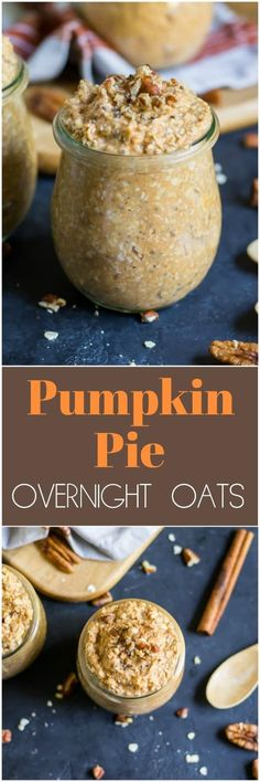 Pumpkin Pie Overnight Oats - Pumpkin pie for breakfast? With these simple Pumpkin Pie Overnight Oats, a touch of cinnamon and pumpkin spice mixed with hearty oats and real pumpkin will make fall mornings extra cozy! Oatmeal Recipes, Pumpkin Recipes, Fall Recipes, Brunch Recipes, Breakfast Recipes, Breakfast Ideas, Paleo Breakfast, Breakfast Time, Pumpkin Overnight Oats