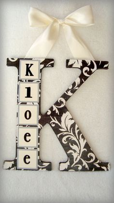 Personalized Wood Letter by SunnyBeginnings on Etsy. , via Etsy. Cute Crafts, Diy And Crafts, Crafts For Kids, Arts And Crafts, Craft Projects, Projects To Try, Craft Ideas, Decoupage, Photo Deco