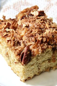 This easy apple pie coffee cake is a quick apple dessert recipe! Bake the best apple cake using banana, yellow cake mix, and apple pie filling. You will love baking this cake recipe for a fall dessert, Thanksgiving dessert, or fall breakfast and brunch dish!