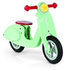 Toddler Janod Mint Balance Scooter Bike My son runs all around the living room on this toddler bike. Toddlers learn how to balance and steer with the scooter bike. Scooter Vintage, Wooden Scooter, Scooter Bike, Retro Scooter, Scooter Shop, Wood Bike, Kids Scooter, Vespa Roller, Kid Furniture