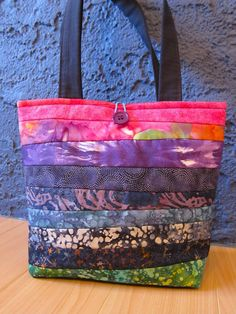 Quilted Striped Batik Project Bag OOAK Berry by BubblegumSass, $45.00