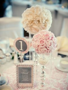 White pomander for low centerpiece repurposed from ceremony